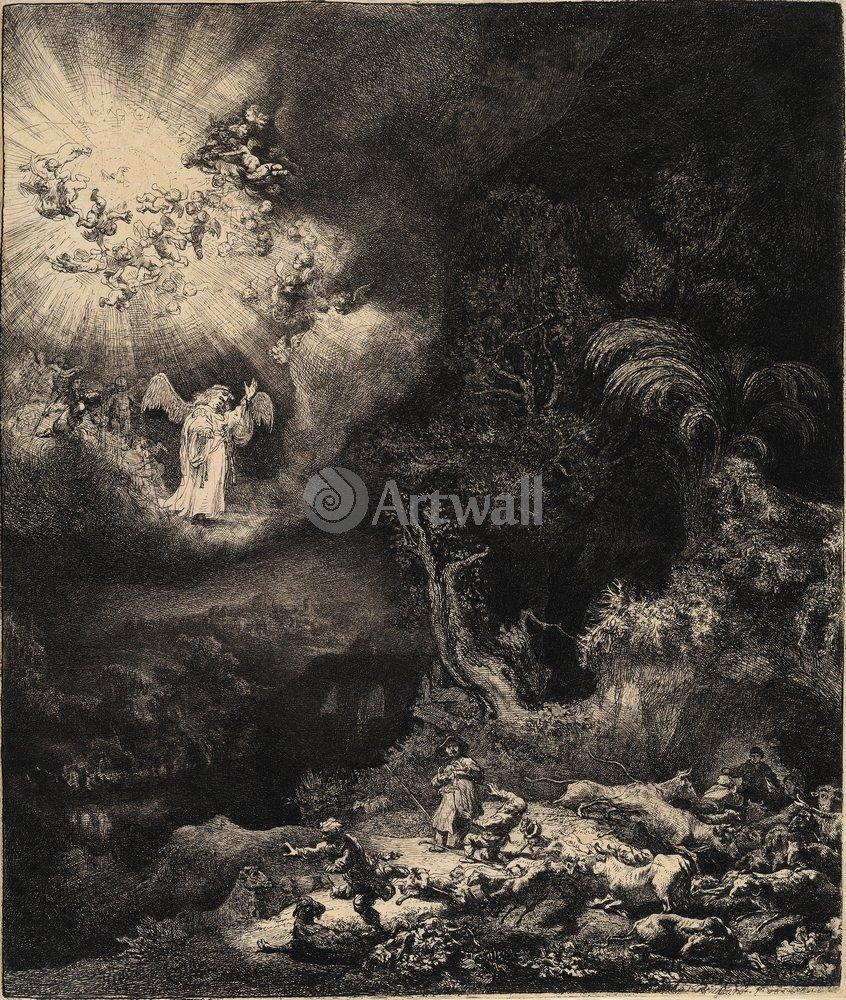 """Художники, картина """"Ангел, являющийся пастухам"""", 20x24 см, на бумаге от Artwall"""