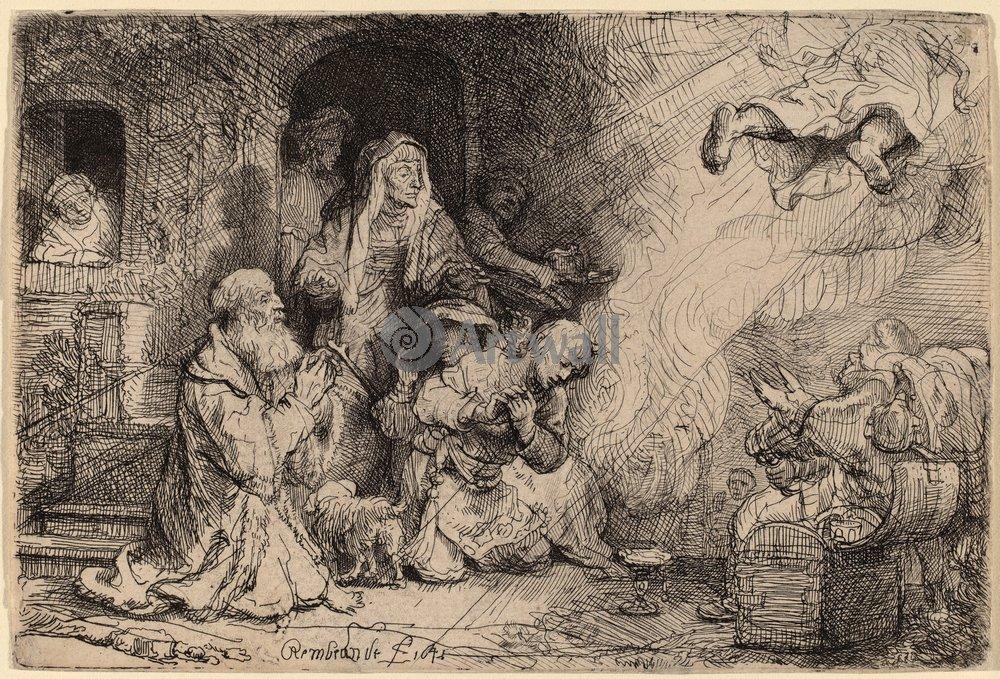 """Художники, картина """"Ангел покидает семейство Товии"""", 29x20 см, на бумаге от Artwall"""
