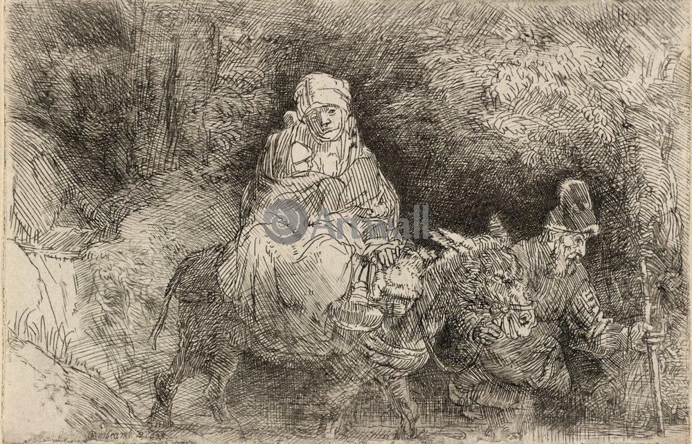 """Художники, картина """"Бегство в Египет"""", 31x20 см, на бумаге от Artwall"""