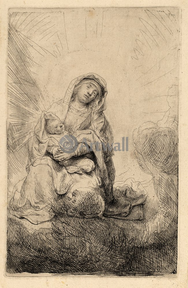 "Художники, картина ""Богоматерь с младенцем на облаках"", 20x31 см, на бумаге от Artwall"