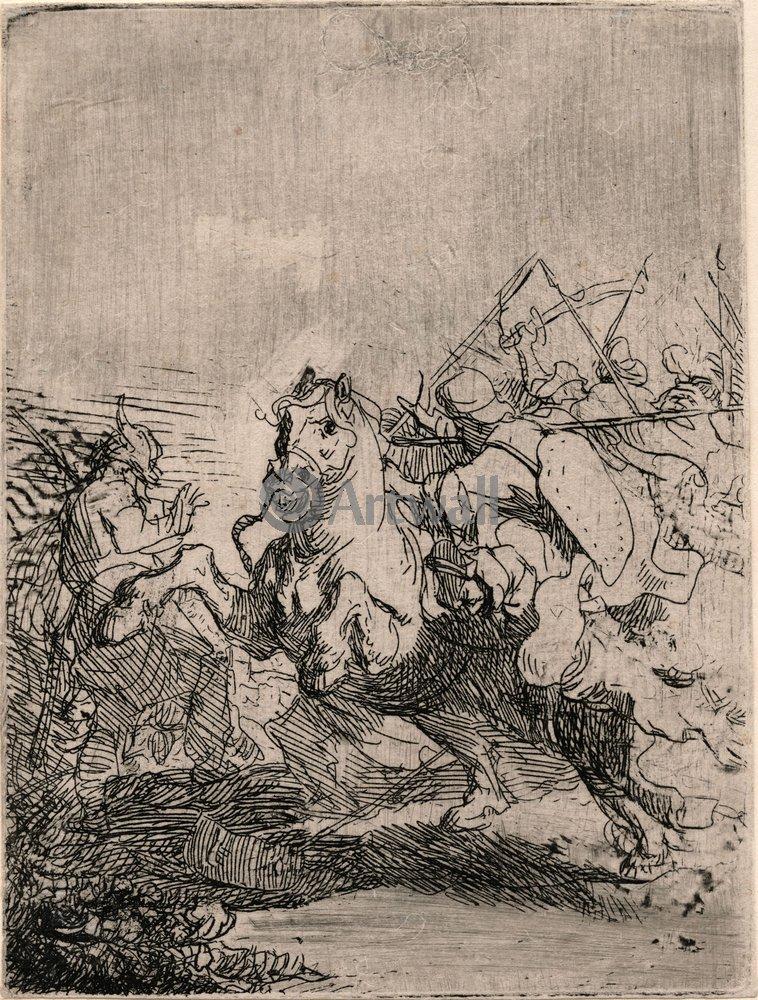 """Художники, картина """"Бой кавалерии"""", 20x26 см, на бумаге от Artwall"""