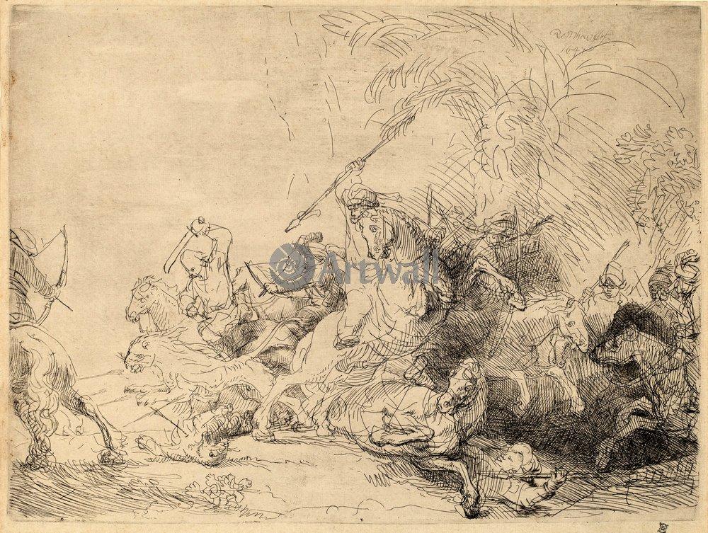 """Художники, картина """"Большая львиная охота"""", 27x20 см, на бумаге от Artwall"""