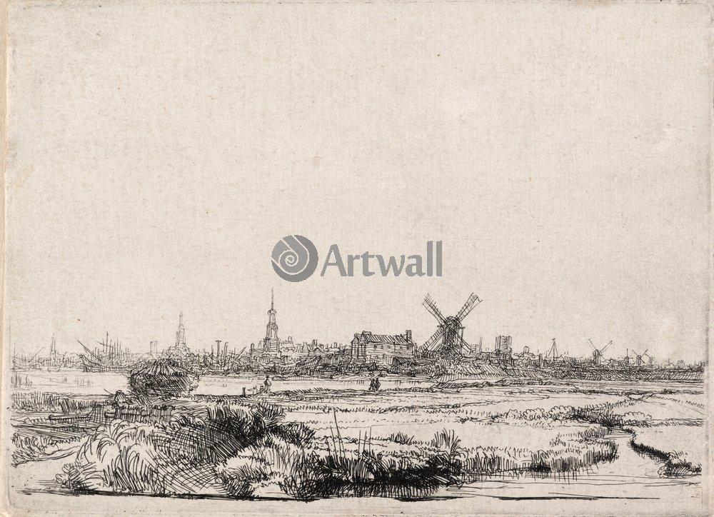 """Художники, картина """"Вид Амстердама с Северо-Запада"""", 28x20 см, на бумаге от Artwall"""