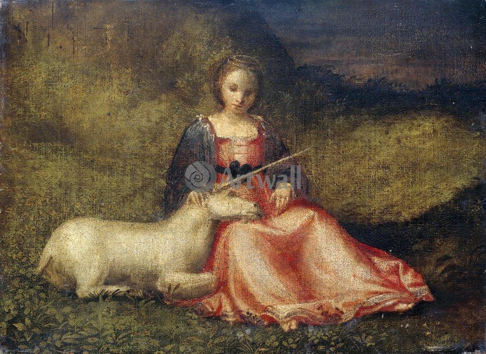 """Художники, картина """"Девушка с единорогом"""", 27x20 см, на бумаге от Artwall"""