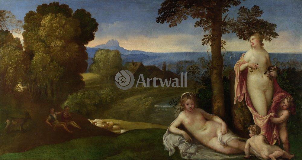 """Художники, картина """"Нимфы на фоне пейзажа с пастухами, последователь Джорджоне"""", 38x20 см, на бумаге от Artwall"""