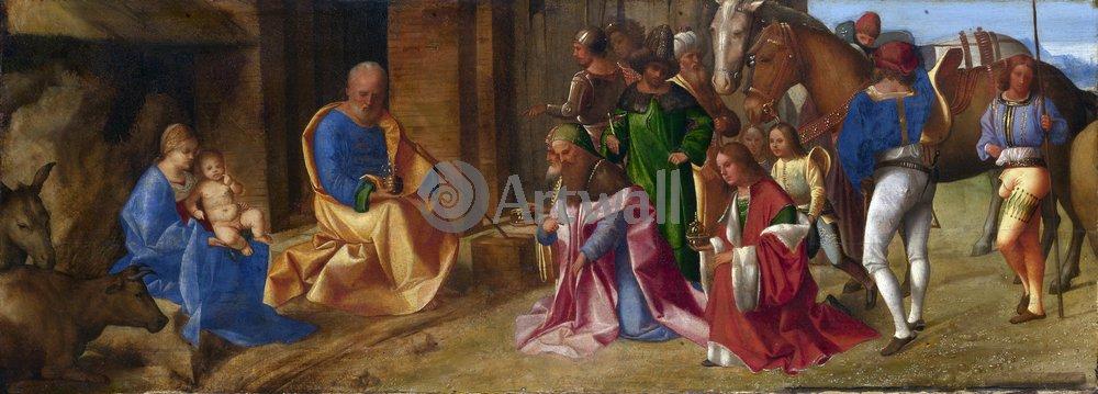 "Художники, картина ""Поклонение волхвов"", 56x20 см, на бумаге от Artwall"
