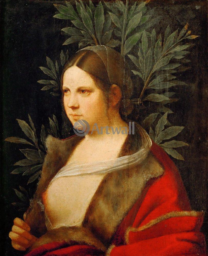"""Художники, картина """"Портрет молодой женщины"""", 20x25 см, на бумаге от Artwall"""