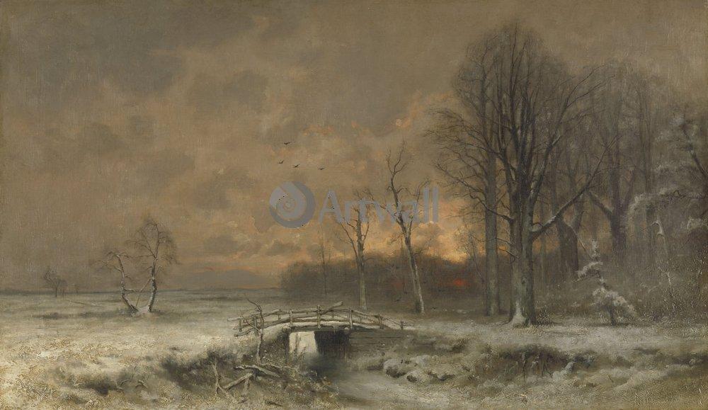 """Пейзажи """"Апо Луис «Закат в зимний вечер»"""", 35x20 см, на бумаге от Artwall"""