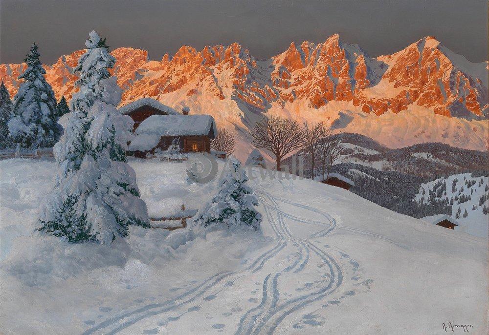 """Пейзажи """"Арнеггер Алоис «Горная деревня зимой»"""", 29x20 см, на бумаге от Artwall"""