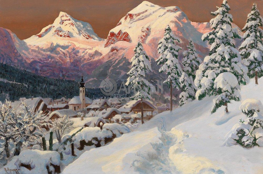 """Пейзажи """"Арнеггер Алоис «Городок в долине зимой»"""", 30x20 см, на бумаге от Artwall"""