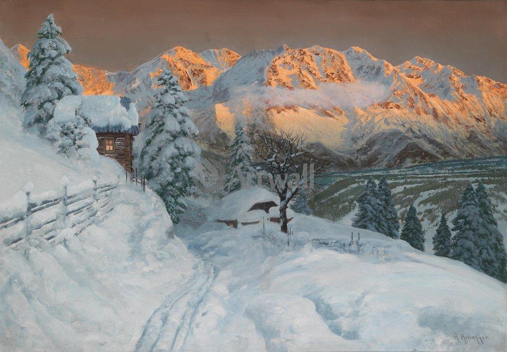 """Пейзажи """"Арнеггер Алоис «Дом в зимних горах»"""", 29x20 см, на бумаге от Artwall"""