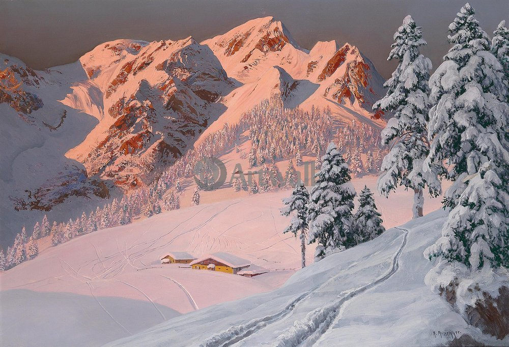 """Пейзажи """"Арнеггер Алоис «Зима в горах»"""", 29x20 см, на бумаге от Artwall"""
