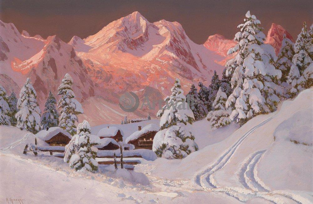 "Пейзажи ""Арнеггер Алоис «Зимний пейзаж с горами»"", 31x20 см, на бумаге от Artwall"