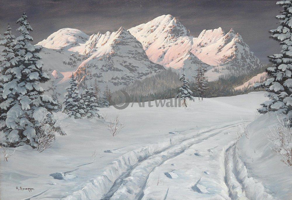 "Пейзажи ""Арнеггер Алоис «Зимняя дорога в горах»"", 29x20 см, на бумаге от Artwall"