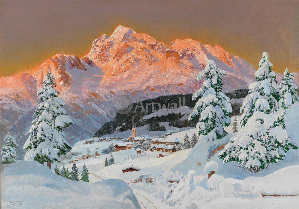 "Пейзажи ""Арнеггер Алоис «Поселок в горах, зима»"", 29x20 см, на бумаге от Artwall"