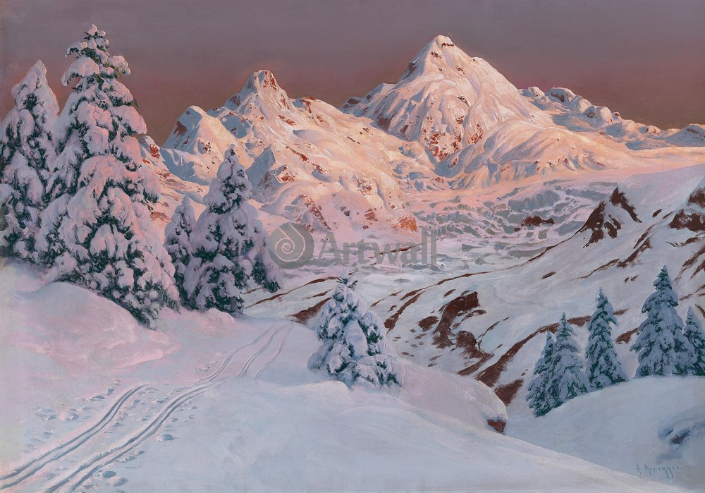 "Пейзажи ""Арнеггер Алоис «Сильвретта зимой»"", 29x20 см, на бумаге от Artwall"