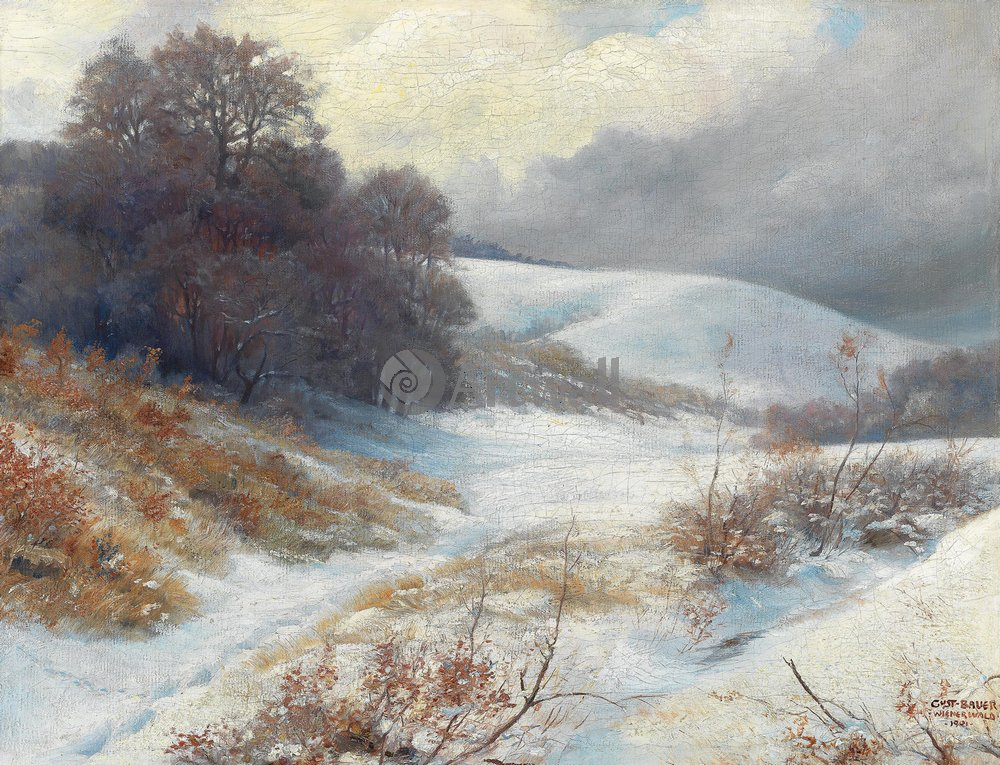 "Пейзажи ""Бауер Густав «Зимний пейзаж»"", 26x20 см, на бумаге от Artwall"