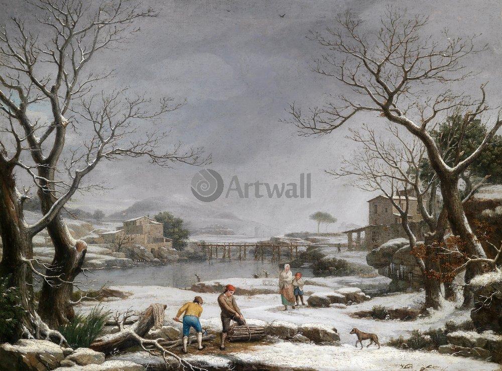 """Пейзажи """"Бачигалупе Джузеппе «Зимний пейзаж»"""", 27x20 см, на бумаге от Artwall"""