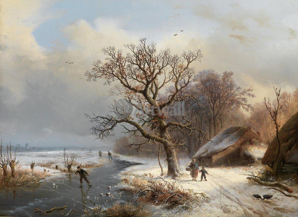 """Пейзажи """"Бодеман Виллем «Зимний пейзаж»"""", 27x20 см, на бумаге от Artwall"""