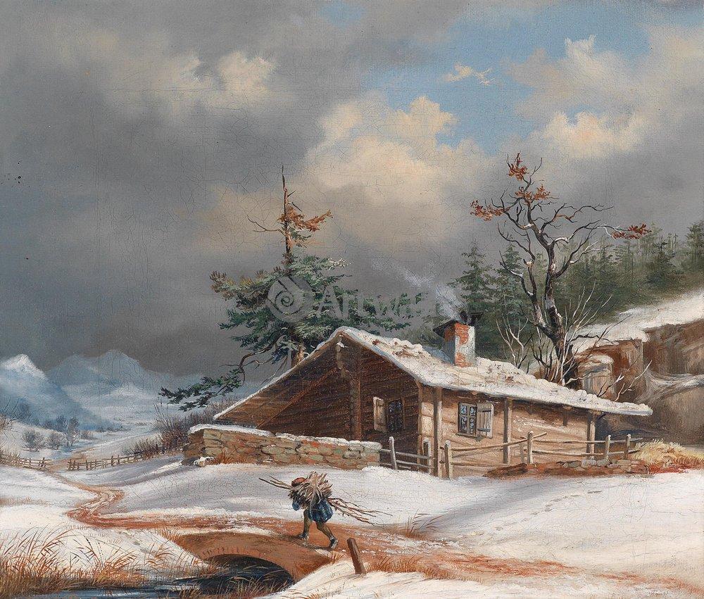 """Пейзажи """"Брейер Ян «Зимний пейзаж с домом и сборщиком хвороста»"""", 24x20 см, на бумаге от Artwall"""