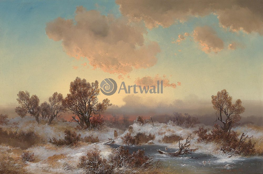 "Пейзажи ""Бруннер Йоганн «Зимний пейзаж»"", 30x20 см, на бумаге от Artwall"