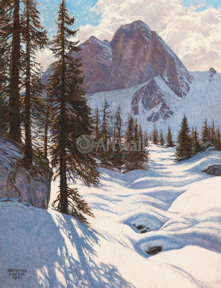 """Пейзажи """"Бруно Хесс «Горный пейзаж зимой»"""", 20x26 см, на бумаге от Artwall"""