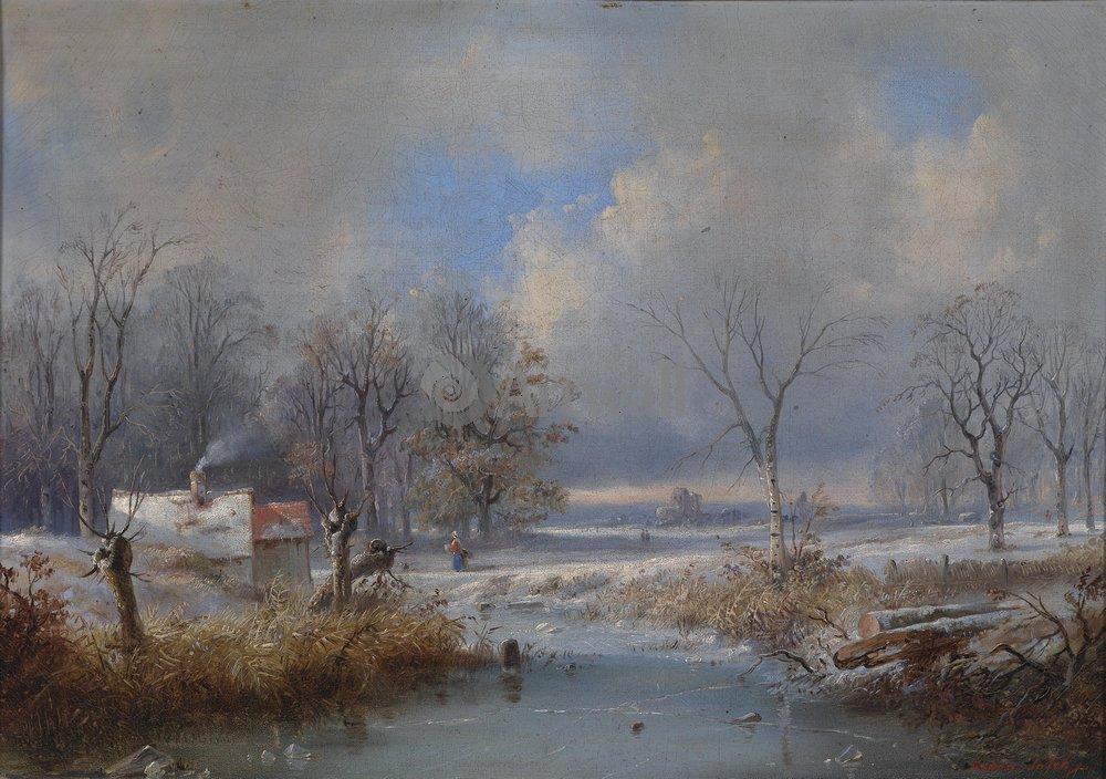 "Пейзажи ""Бустаман Раден «Зимний пейзаж»"", 28x20 см, на бумаге от Artwall"