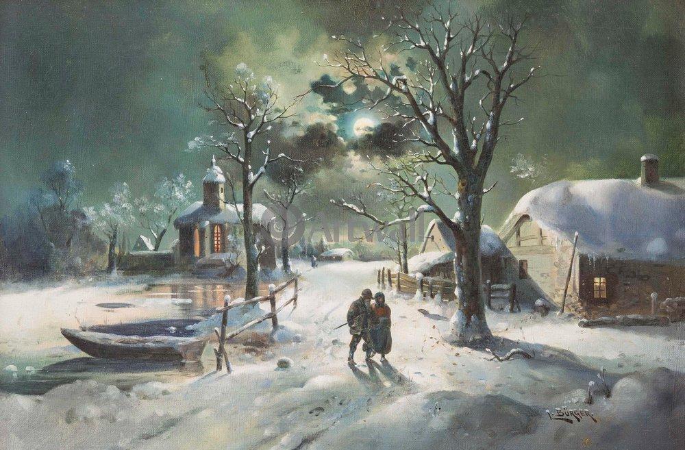 """Пейзажи """"Бюргер Лотар «Деревня зимней ночью»"""", 30x20 см, на бумаге от Artwall"""