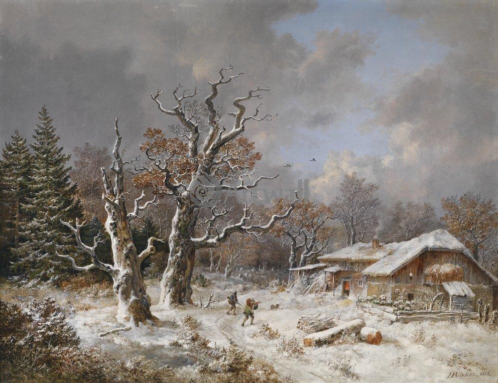 """Пейзажи """"Бюркель Генрих «Возвращение охотников, зима»"""", 26x20 см, на бумаге от Artwall"""
