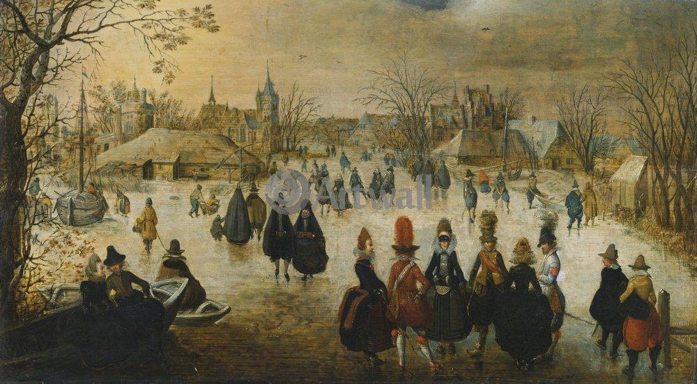 "Пейзажи ""Ван Бриин Адам «Катание на коньках»"", 36x20 см, на бумаге от Artwall"