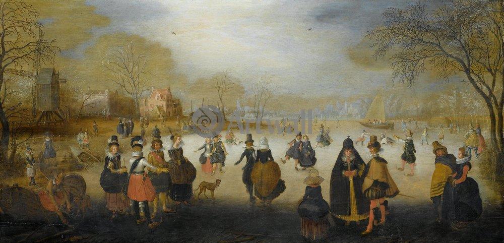 "Пейзажи ""Ван Бриин Адам «Катание на коньках»"", 41x20 см, на бумаге от Artwall"