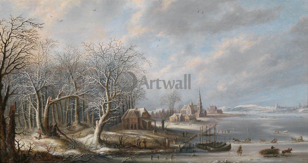 "Пейзажи ""Ван ден Хёке Роберт «Зимний пейзаж»"", 38x20 см, на бумаге от Artwall"