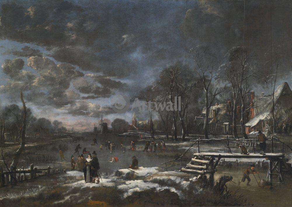 """Пейзажи """"Ван дер Ниир Аерт «Зимний день»"""", 28x20 см, на бумаге от Artwall"""