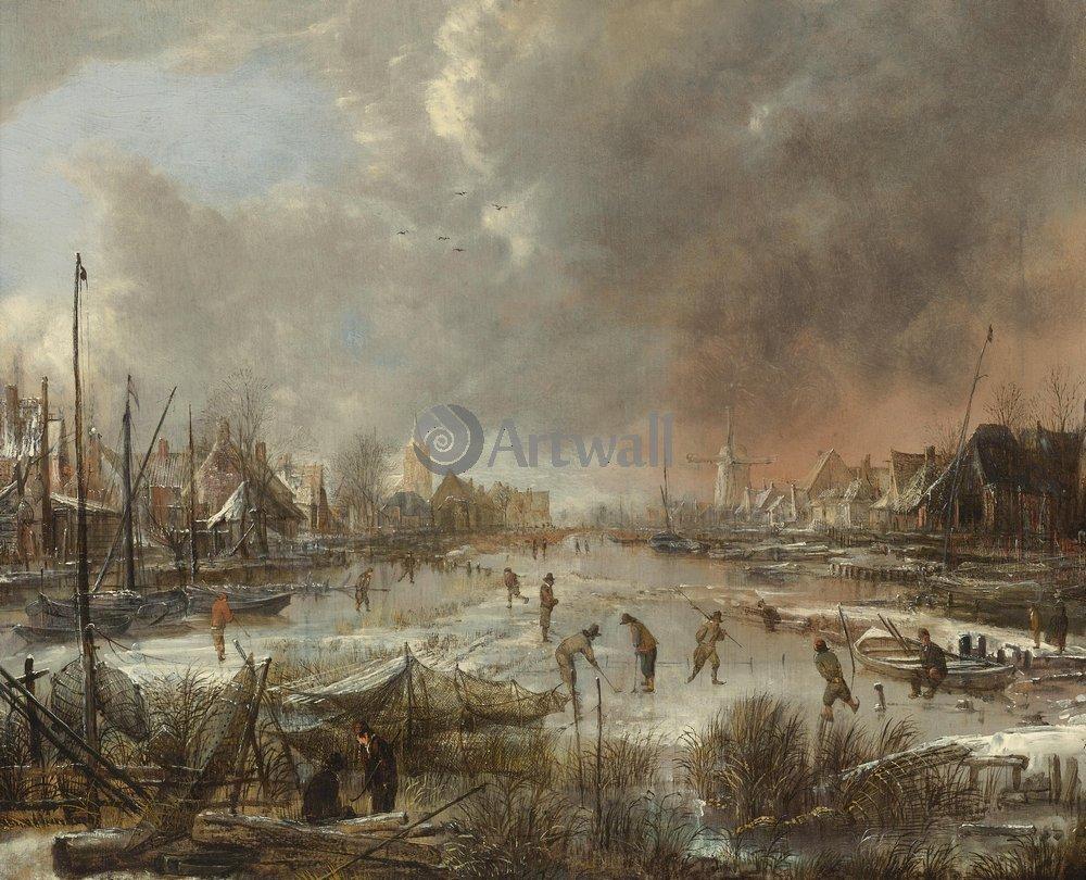 """Пейзажи """"Ван дер Ниир Аерт «Пейзаж с конькобежцами на замерзшей реке»"""", 25x20 см, на бумаге от Artwall"""