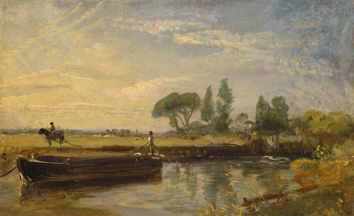 """Художники, картина """"Баржа ниже шлюза Флэтфорда"""", 33x20 см, на бумаге от Artwall"""