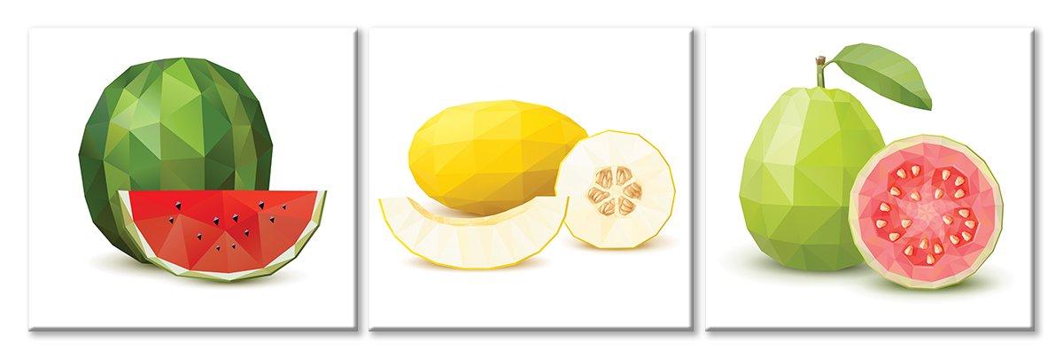 Модульная картина «Полигональные фрукты», 149x50 см, модульная картина от Artwall