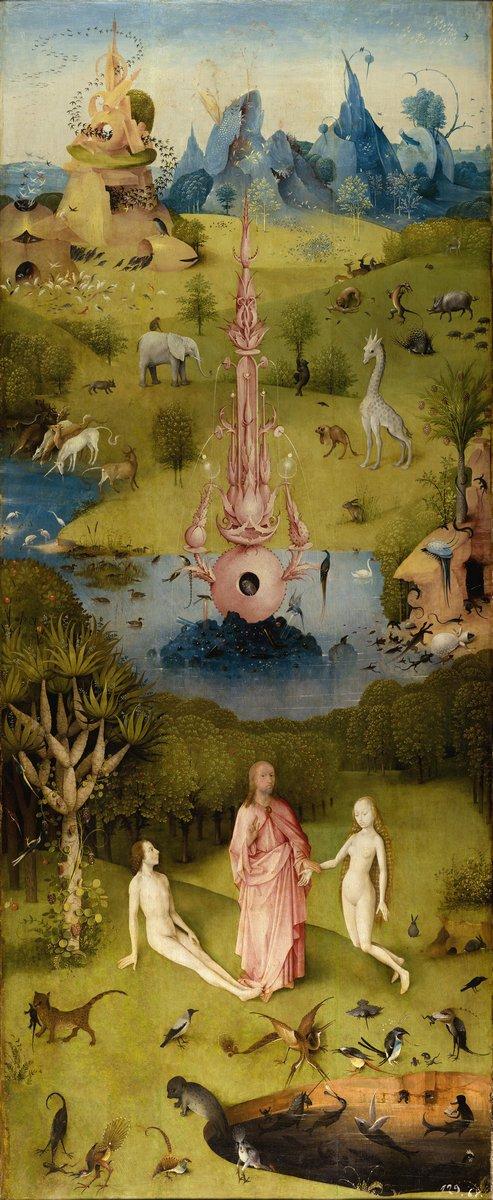 """Искусство, картина """"Босх Иероним «Сад земных наслаждений», левая часть триптиха"""", 20x49 см, на бумаге от Artwall"""