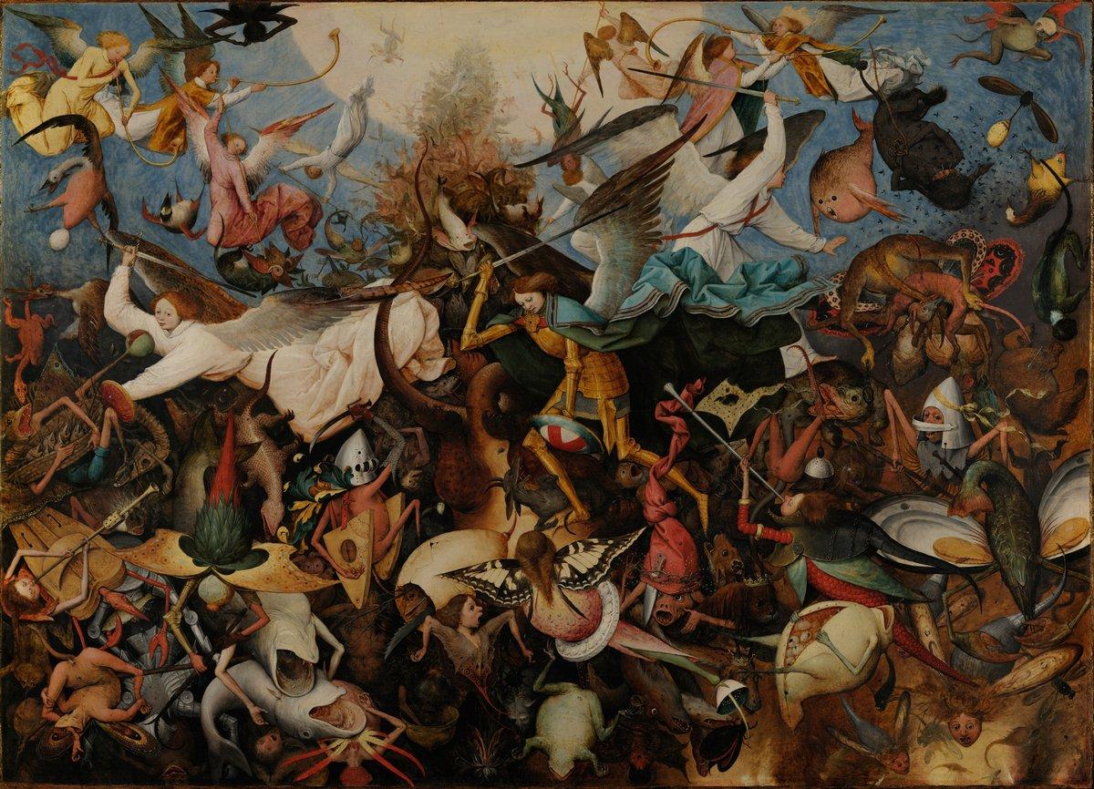 """Искусство, картина """"Брейгель Питер старший «Падение мятежных ангелов»"""", 28x20 см, на бумаге от Artwall"""
