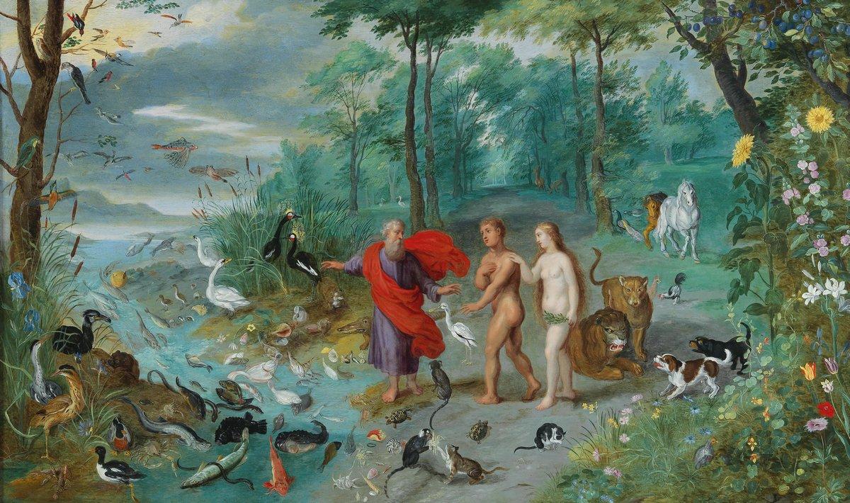 """Искусство, картина """"Брейгель Ян младший «Адам и Ева в раю»"""", 34x20 см, на бумаге от Artwall"""