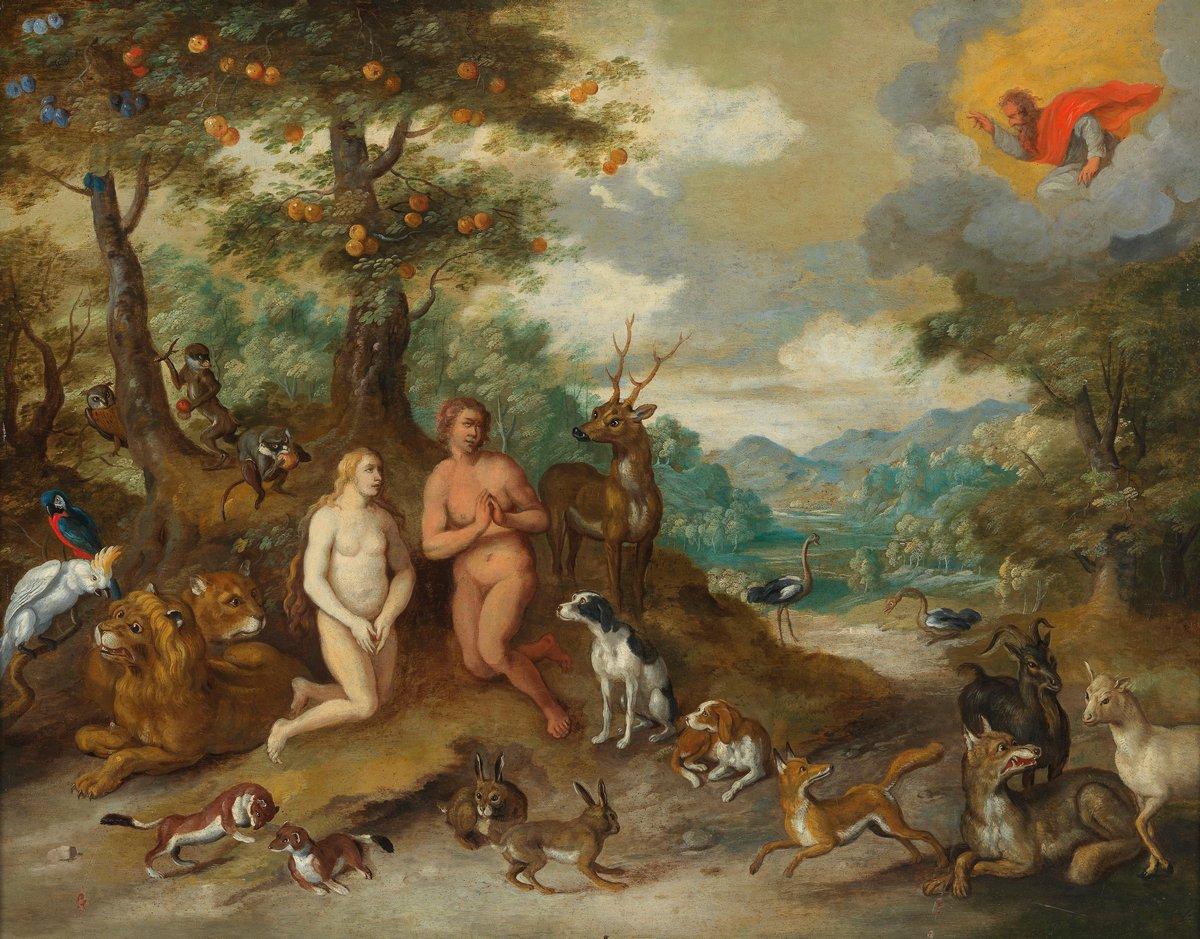 """Искусство, картина """"Брейгель Ян младший «Адам и Ева в Эдемском саду»"""", 26x20 см, на бумаге от Artwall"""