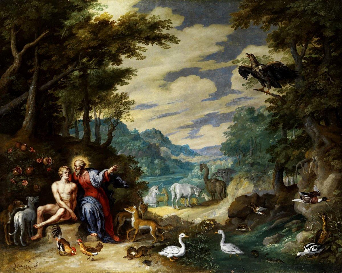 """Искусство, картина """"Брейгель Ян младший «В Эдемском саду»"""", 25x20 см, на бумаге от Artwall"""