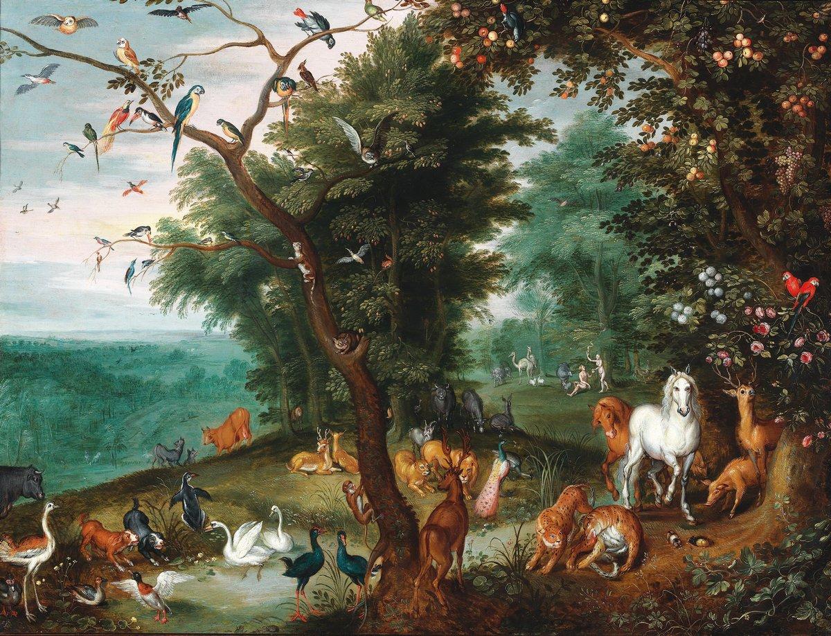 """Искусство, картина """"Брейгель Ян младший «Рай земной»"""", 26x20 см, на бумаге от Artwall"""