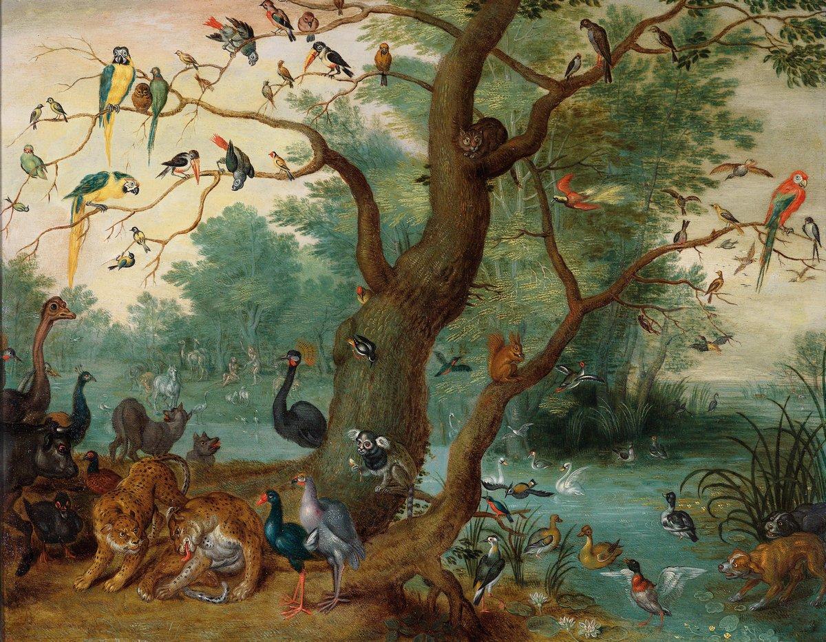 """Искусство, картина """"Брейгель Ян младший «Райский пейзаж»"""", 26x20 см, на бумаге от Artwall"""