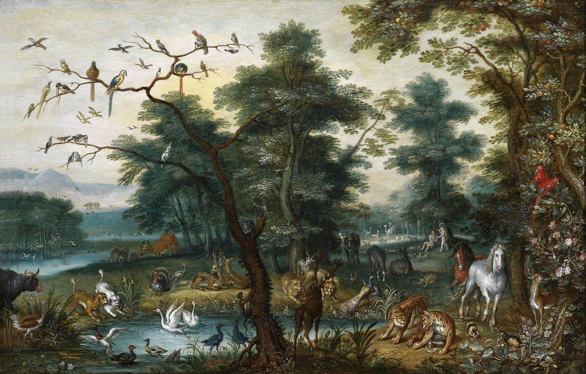 """Искусство, картина """"Брейгель Ян младший «Райский пейзаж с грехопадением»"""", 31x20 см, на бумаге от Artwall"""