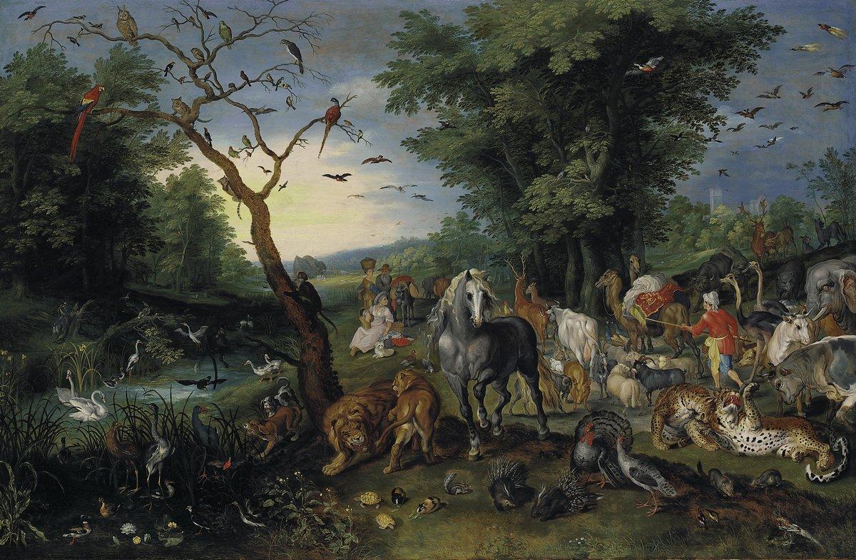 """Искусство, картина """"Брейгель Ян младший «Сгон животных в Ноев ковчег»"""", 31x20 см, на бумаге от Artwall"""