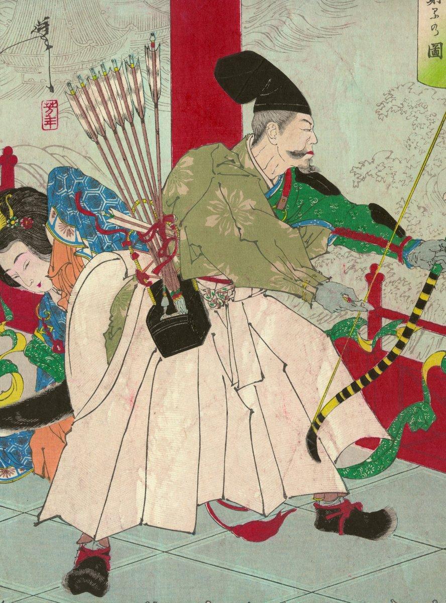 """Японская гравюра Японские гравюры, """"Воин Ватанабе но Тсуна с луком и стрелами во дворце демона Ибараки"""", 20x27 см, на бумаге от Artwall"""
