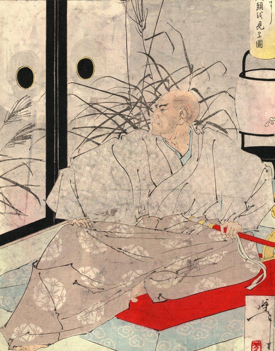 """Японская гравюра Японские гравюры, """"Воин Тайра но Кийомори, держащий меч, и видение демона, смотрящего в окно"""", 20x26 см, на бумаге от Artwall"""