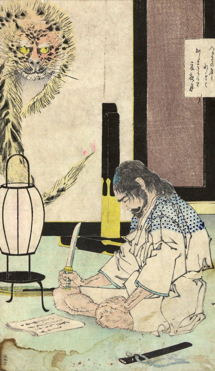 """Японская гравюра Японские гравюры, """"Генерала Акаси Гидаю в белом костюме, сидящий на полу"""", 20x34 см, на бумаге от Artwall"""