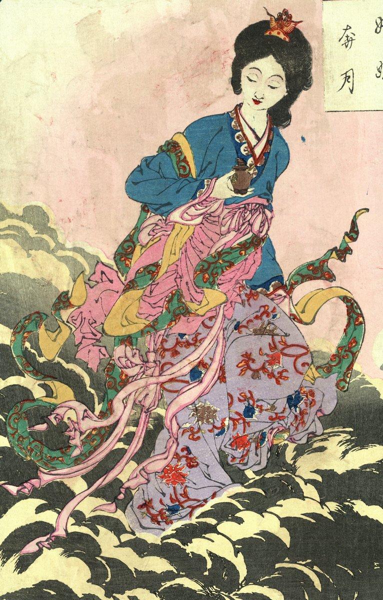 """Японская гравюра Японские гравюры, """"Женское божество Чанг-е"""", 20x31 см, на бумаге от Artwall"""