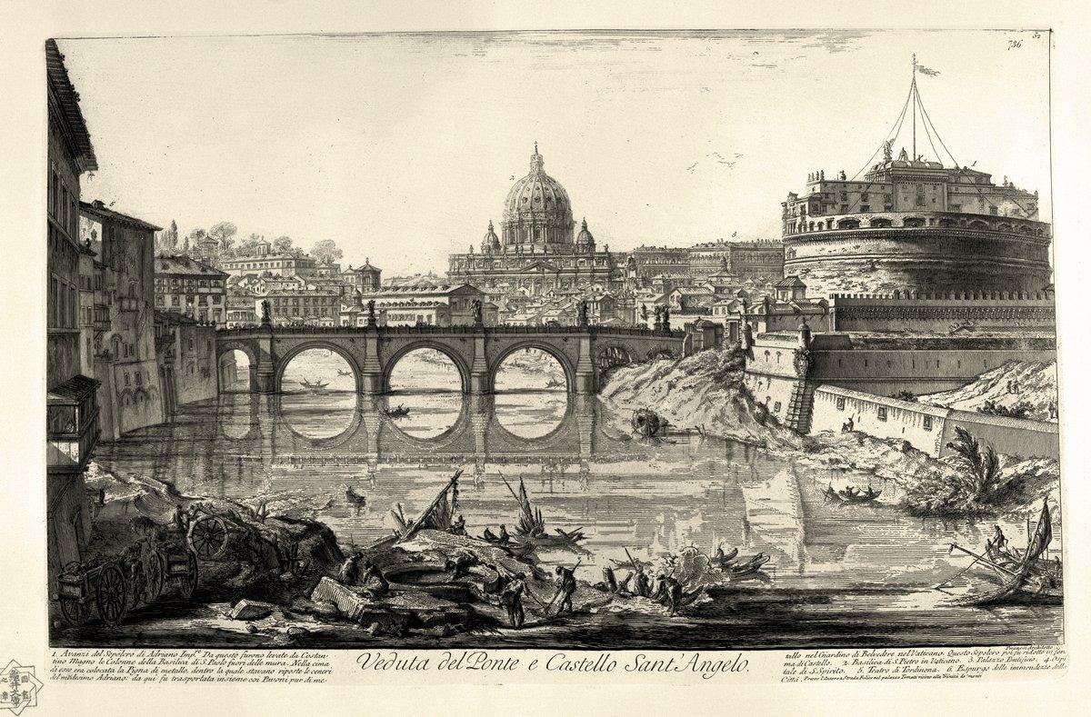 """Художники, картина """"Вид на мост и замок Святого Ангела"""", 30x20 см, на бумаге от Artwall"""